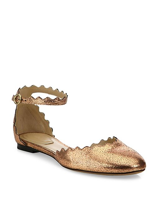 Chloé - Lauren Metallic Leather Ankle-Strap Flats