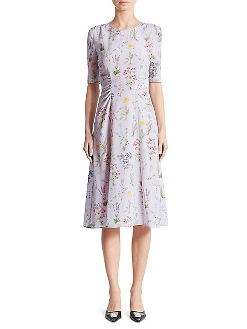 Altuzarra - Sylvia Cinched Garden-Print Silk Dress